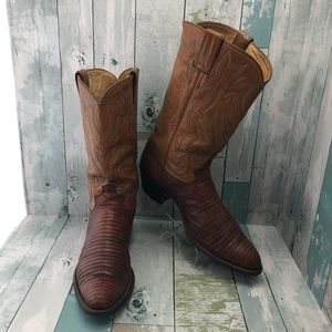 Justin Exotic Lizard Western Boots Men's 10.5
